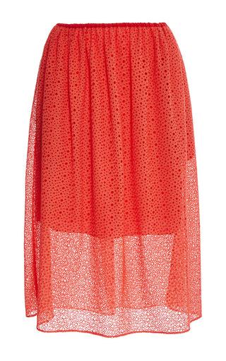Medium tibi red red diffusion eyelet skirt
