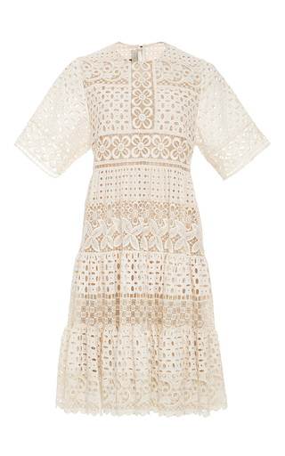 Medium elie saab nude broderie anglaise and guipure short sleeve dress