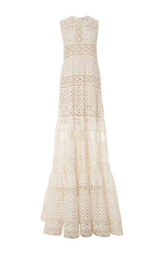 Medium elie saab nude broderie anglaise and guipure maxi dress