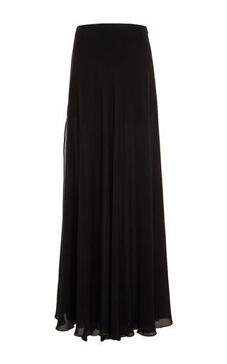 Medium elie saab black double crepe georgette long skirt