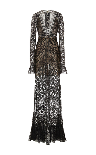 Medium elie saab black lace and ajoure sheer long dress