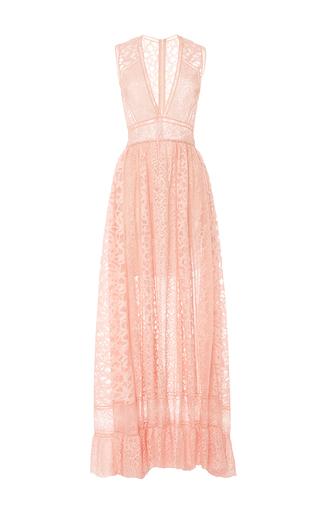 Medium elie saab light pink lace and ajoure v neck maxi dress