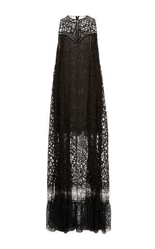 Medium elie saab black lace and ajoure sleeveless maxi dress