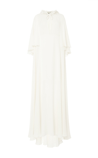 Medium elie saab ivory double crepe georgette long dress
