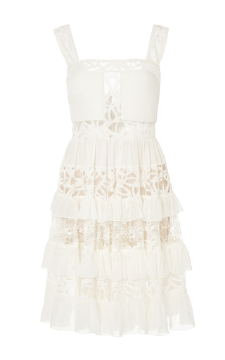 Medium elie saab nude crepe georgette and lace tiered short dress
