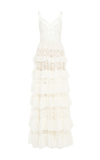 Medium elie saab nude crepe georgette and lace long tiered dress