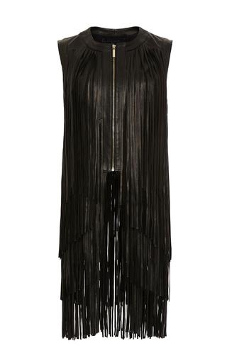 Medium elie saab black leather fringe dress