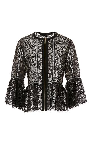 Medium elie saab black lace and ajoure sheer jacket