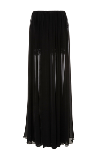 Medium elie saab black crepe georgette sheer long skirt