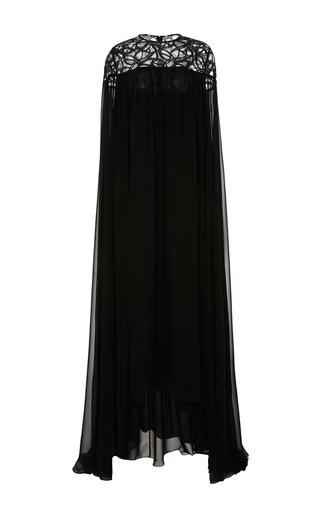 Medium elie saab black crepe georgette and lace sheer long sleeve dress