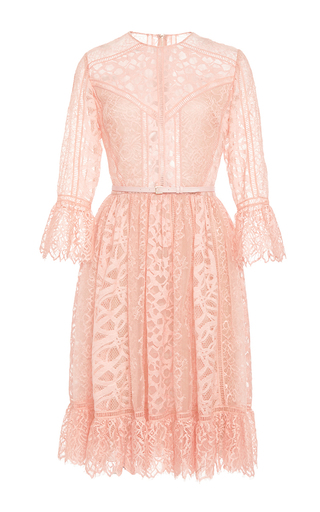 Medium elie saab light pink lace and ajoure lace short dress