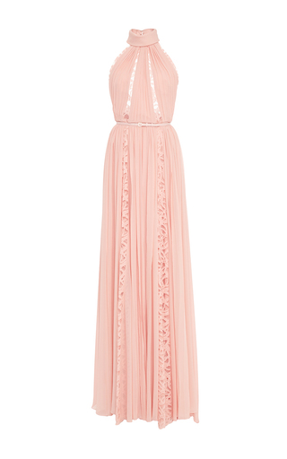 Medium elie saab light pink crepe georgette and lace sleeveless long dress