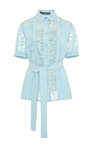 Medium elie saab light blue crepe cady and lace short sleeve blouse