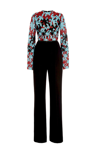 Medium elie saab black embroidered guipure and cady jumpsuit