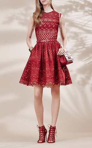 Guipure Lace Sleeveless Dress by ELIE SAAB Now Available on Moda Operandi