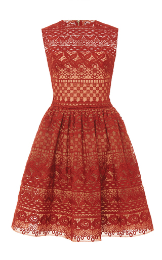 Medium elie saab red guipure lace sleeveless dress