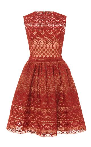 Medium elie saab red guipure lace sleeveless dress