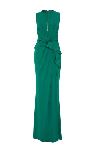 Medium elie saab green sleeveless ruffled jersey dress