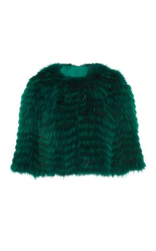 Medium elie saab green fox fur and crepe georgette coat