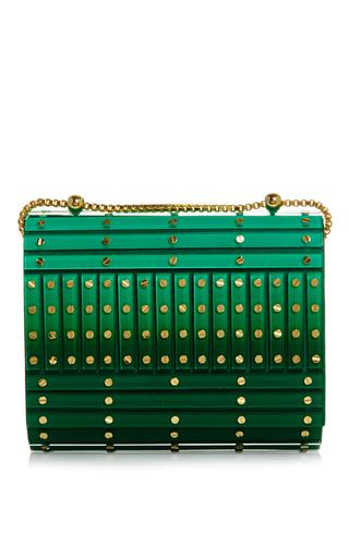 Medium elie saab green abat jour small shaded plexi stripes and studs clutch