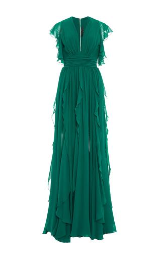Medium elie saab green crepe georgette v neck dress