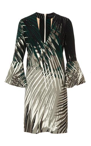 Medium elie saab green palm print crepe cady short dress
