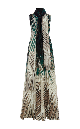 Medium elie saab green palm print crepe georgette long dress