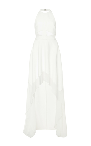 Medium elie saab nude crepe georgette and cady asymmetric dress