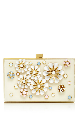 Medium elie saab light pink small embellished flowers plexi clutch