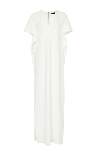 Medium elie saab nude crepe cady and ajoure long dress