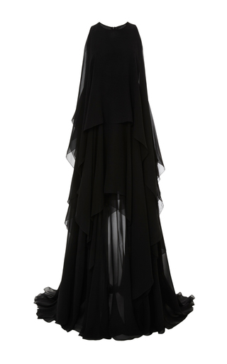 Medium elie saab black crepe georgette long sleeveless dress