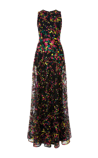 Medium elie saab black flower leaves embroidered long dress