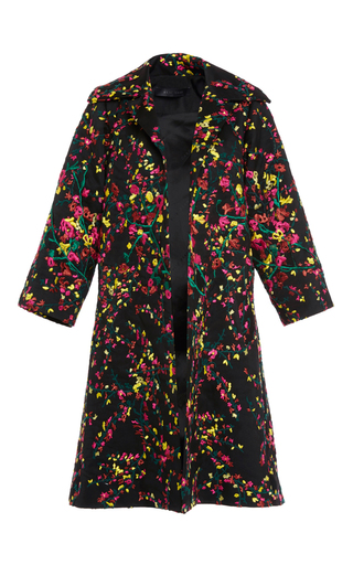 Medium elie saab black flower leaves embroidered oversize coat