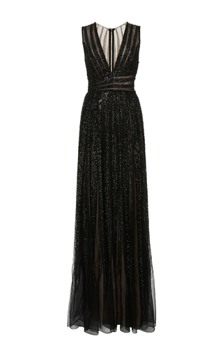 Medium elie saab black bead embroidery and tulle v neck gown