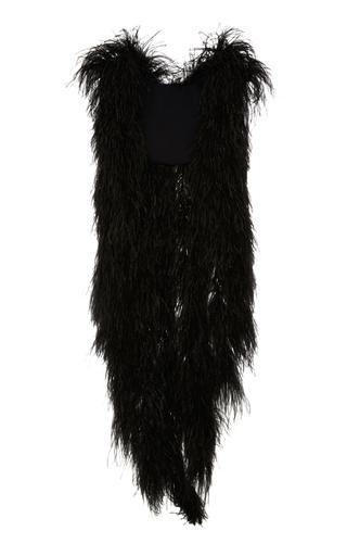 Medium elie saab black ostrich feather asymmetric shrug
