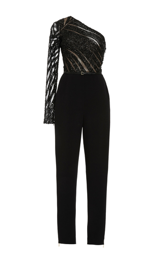 Medium elie saab black embroidery and cady one shoulder jumpsuit