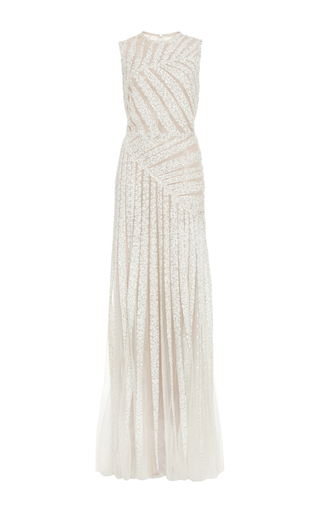 Medium elie saab white bead embroidery and tulle asymmetric gown