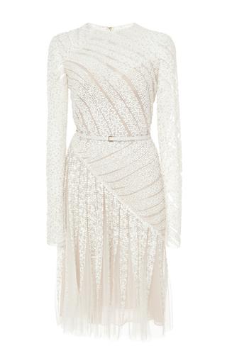Medium elie saab white bead embroidery and tulle short dress