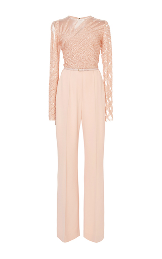 Medium elie saab light pink bead embroidery and cady jumpsuit