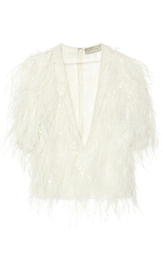 Medium elie saab nude feather and embroidered georgette top