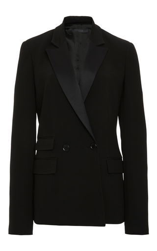 Medium elie saab black crepe cady and satin tuxedo jacket