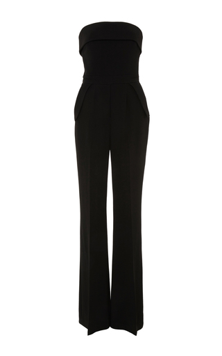 Medium elie saab black cady and satin strapless jumpsuit