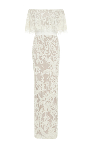 Medium elie saab nude bead embroidery off the shoulder gown