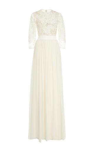 Medium elie saab nude crepe georgette and lace applique gown