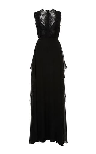 Medium elie saab black crepe georgette and lace slit dress