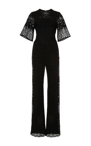 Medium elie saab black guipure lace and cady sheer jumpsuit