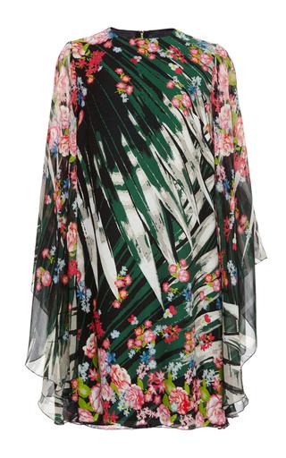 Medium elie saab green flower palm printed crepe georgette short dress