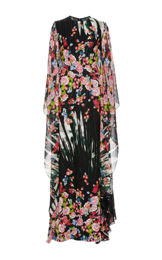 Medium elie saab black flower palm printed crepe georgette caftan dress