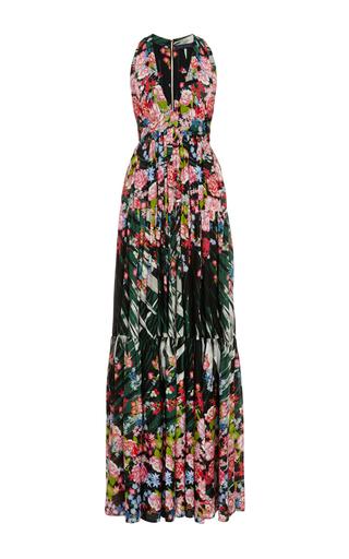 Medium elie saab black flower palm printed crepe georgette v neck gown