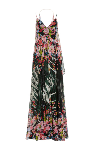 Medium elie saab black flower palm printed crepe georgette sleeveless gown